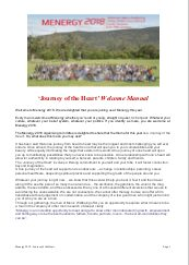 Menergy 2018 'Journey of the Heart' Welcome Manual